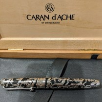 Caran d'Ache of Switzerland 'La Poya' fountain pen. Limited Edition: #1508/2002 Silver/rhodium cage and fittings, diamond on cap. Current List: $1,500.- Modele's Price: 650.-