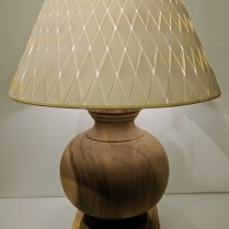 """**ITEM NOW SOLD** Ethan Allen 'Everett' lamp in Acacia wood. 10 yrs. old, new woven shade. 20"""" dia. x 29""""h. Orig. List for base: $499.- Modele's Price: 150.-"""