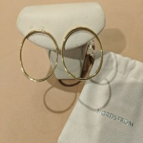 **ITEM NOW SOLD** Pair Jordan Schlanger 18K yellow gold oval hoops, purchased from Nordstrom 9 years ago (very light use). Orig. List: $1,500.-1,600. Modele's Price: 495.-