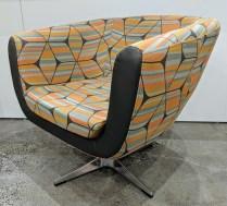 "'Marlena' swivel chair by local hospitality company. Rep's sample, never used in a home. 31.5""w x 31""d x 29""h. Orig. $650. Modele's Price: 325.-"