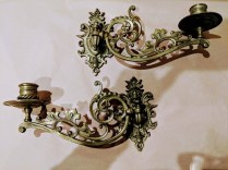 """Pair vintage 'Piano' candle sconces, purchased in NYC in 1947. 3""""w x 9.75""""d x 5.25""""h. 95.- Pair"""