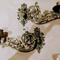 """Pair vintage 'Piano' candle sconces, purchased in NYC in 1947. 3""""w x 9.75""""d x 5.25""""h. 85.- Pair"""