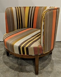 "'Pepper' striped barrel chair by local hospitality company. Rep's sample, never used in a home. 27.25""w x 29.5""d x 29.5""h. Orig. $650. Modele's Price: 325.- (total of 10 available)"