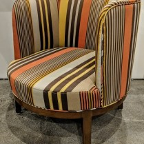 """**ITEM NOW SOLD** 'Pepper' striped barrel chair by local hospitality company. Rep's sample, never used in a home. 27.25""""w x 29.5""""d x 29.5""""h. Orig. $650. Modele's Price: 275.- (total of 10 available)"""