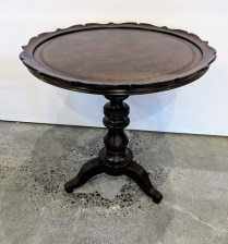 "Hooker side table, 6 months old. Faux leather top. 23.25"" dia. x 24.5""h. 150.-"