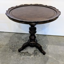"**ITEM NOW SOLD** Hooker side table, 6 months old. Faux leather top. 23.25"" dia. x 24.5""h. 150.-"