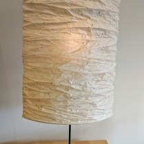 "**ITEMS NOW SOLD** Kyo lamp, designed by Toshiyuki Kita. Mino Washi shade (Japanese paper). 19""w x 19.5""d x 33""-47.5"" adjustable height. 295.- (two available)"