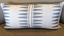 "Coral & Tusk, navy quill pillow, purchased from One Kings Lane. Never used, 31""w x 16.5""h. Original List: $260. Modele's Price: 135.-"