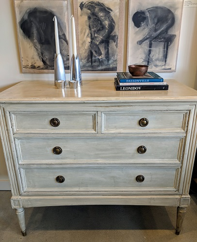 """Vintage chest of drawers, purchased from 1st Dibs. Custom painted finish, fabric covered panel drawer liners. 44""""w x 21.5""""d x 36.75""""h. 1150.-"""