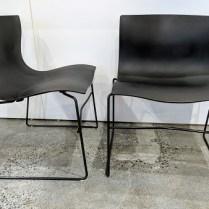 """**ITEM NOW SOLD**Set/4 Knoll 'Handkerchief' stackable dining chairs. 10 years old. Fiberglass reinforced polyester with steel base. 21.75""""w x 21""""d x 29""""h. Current List: $2,324. set/4 Modele's Price: 950. set/4"""