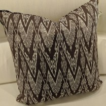 "Custom pillow: Kerry Joyce ikat fabric. 20"" sq. Never used. Orig. List: $250. Modele's Price: 125.-"