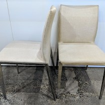 """Set/6 Molteni & Co. 'Dart' dining side chairs. 10 years old, linen covers on pressed aluminum frame. Discontinued style. 17.5""""w x 20.5""""d x 33.25""""h. Orig. List: $8,800. set Modele's Price: 1150. set"""