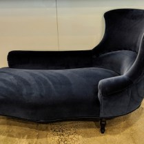 "**ITEM NOW SOLD** French chaise, c. 1940's with all new upholstery and stuffing. Blue velvet (it's brighter than in the photo). 68.5""l x 36.5""w x 36.25""h. Orig. List: $9,000. to 10,000. Modele's Price: 2950.-"