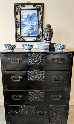 "2-Piece Antique Japanese tansu with black lacquer finish. Late 19th century. 33.5""w x 16.25""d x 39.5""h. Orig. List: $1,400. Modele's Price: 795.-"