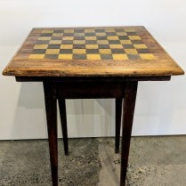 "**ITEM NOW SOLD** Antique Shaker table with checkerboard painted top. 23"" sq. x 29.5""h 295.-"