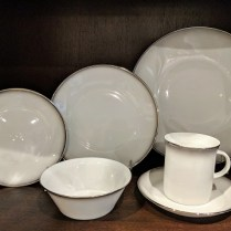**ITEM NOW SOLD** 73 piece set of Rosenthal 'Evensong' dinnerware, c. 1970's. 12: dinner plates/10: salad plates/12: bread & butter plates/ 14: saucers/13: cups/8: small bowls/4: med. bowls 250. set