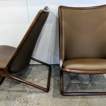 "**ITEM NOW SOLD** Pair Geiger International 'Scissor' chairs, designed by Ward Bennett. 8 years old, leather/wood. 24""w x 28""d x 34.75""h. Current List: $6.800. pr. Modele's Price: 2950.- pair"