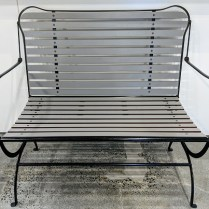 """Zanotta 'Camilla' bench, designed by Achille Castiglioni in 1984, now out of production. Painted steel, indoor use. 39.25""""w x25""""d x 36.75""""h. 1750.-"""