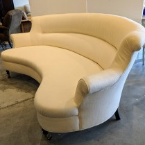 "**ITEM NOW SOLD** Custom sofa by designer Jeffrey Bilhuber. 4-5 years old, linen upholstery. 90""w x 35""h. Orig. List: over $10,000. Modele's Price: 3250.-"