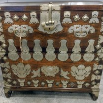 """Antique Korean blanket chest with large fish lock. Purchased from Stephen Earls Showroom in early 1970's. 41""""w x 18""""d x 39""""h. 795.-"""