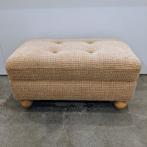 "Custom ottoman with round wood feet. 32.5""l x 19.25""w x 16.5""h. 225.-"