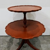 """Vintatge two-tier side table with painted finish, 23"""" dia. x 28""""h. 295.-"""