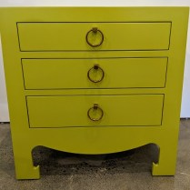 "Pair Bungalow 5 'Jacqui' 3-drawer nightstands. 4 yrs. old, excellent condition. 28""w x 18""d x 28""h. Current List: $2,726. pair Modele's Price: 1350. pair"