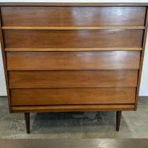 "Vintage Dixie 5-drawer chest. Walnut veneer. c. 1960's. 41.25""w x 18.5""d x 42""h. 750.-"