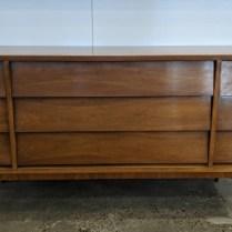 "**ITEM NOW SOLD** Vintage Dixie 9-drawer dresser in walnut veneer, c. 1960's. 63.25""w x 18.75""d x 30""h. 895.-"