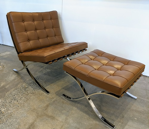 Knoll Barcelona chair with matching footstool, in upgraded Sabrina leather. Two years old. Current List: $12,029 + 902. freight. Modele's Price: 5250.-