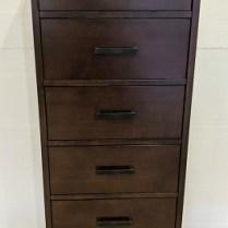 "**ITEMS NOW SOLD** Klaussner 5-drawer lingerie chest, 10 years old. 21""w x 17""d x 57""h. Orig. List: $600. Modele's Price: 295.- (two chests available)"