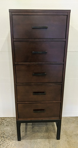 "Klaussner 5-drawer lingerie chest, 10 years old. 21""w x 17""d x 57""h. Orig. List: $600. Modele's Price: 295.- (two chests available)"