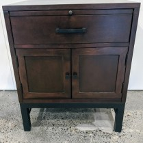 "Single nightstand by Klaussner. Pull-out tray, drawer and cupboard. 24""w x 18""d x 29""h. Orig. List: 300. Modele's Price: 150.-"