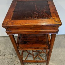 """Antique Chinese 3-tier table. Lovely branch detail no top. 15"""" sq. x 29.5""""h 325.-"""