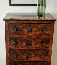 """**ITEM NOW SOLD** Antique chest, origin not known. Beautiful patina, missing one escutcheon plate. 21""""w x 14.5""""d x 45.5""""h 450."""