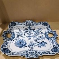 """Blue Danube (made in Japan) ornate square serving platter. 15.5"""" sq. E-Bay price: $330. Modele's Price: 165.-"""