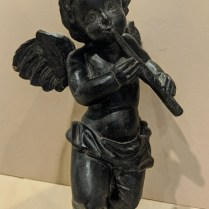 "Carved wood cherub with wall mount hardware. 12"" tall. 75.-"