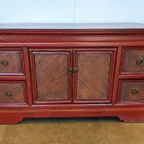 """Chinese cabinet, great storage, use in any room of the house. Four drawers plus one cupboard. 42""""w x 18.5""""d x 22""""h. Orig. List: $349. Modele's Price: 195.-"""