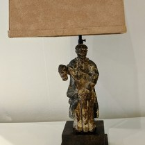"Custom lamp with vintage carved wood figure. Lovely age and texture. 24.75""h. 350.-"