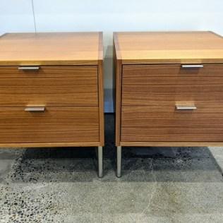 """Pair Bensen 'Partu Comp. 6'side tables or nightstands. Walnut venner, steel legs. 20.5""""w x 22.25""""d x 22.25""""h. Orig. List: $1,470. pair. Modele's Price: 795.- pair"""