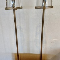 "Pair Restoration Hardware 'Pauillac' table lamps in solid burnished brass. Used for only six months. 6"" dia. x 30""h. Current List: $636. pair + shipping. Modele's Price: 395. pair"
