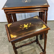 """**ITEM NOW SOLD** Set/4 nesting tables. Solid hardwood with brass inlay. Largest table: 21""""w x 12.5""""d x 21"""" 350. set/4"""