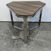 """Donghia 'Forma' drink tale with wood top and chromed steel base. Showroom sample, never used in a home. 19.5"""" x 22.5"""" x 17"""". Orig. List: $3,500. Modele's Price: 875.-"""