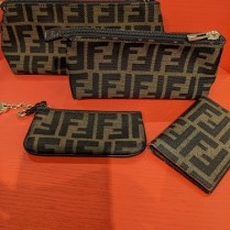 **ITEM NOW SOLD** Set/4 Fendi 'Zucca' accessories; 2 cosmetics pouches, coin purse key chain, credit card case. 350. set/4