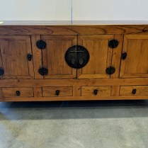 "**ITEM NOW SOLD** Chinese sideboard, reclaimed wood, purchased from Glenn Richards in 2006. Elmwood. 63""w x 18""d x 30.5""h. 650.-"