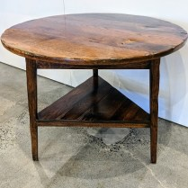 """**ITEM NOW SOLD** 'Cricket' table, from The Michael Folks Showroom. 20 years old, nice patina with some splits in wood and uneven finish. Oak. 36"""" dia. x 29.5""""h. Orig. list: $1,380. Modele's Price: 395."""