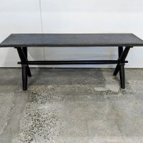 "**ITEM NOW SOLD** David Smith & Co. rustic bench (or table) with metal clad top. 48""l x 14""w x 18""h. 250.-"