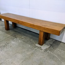 "**ITEM NOW SOLD** Solid molave wood bench, purchased from Glenn Richards in 1999-2000 (Molave wood, from the Philippines, is very dense wood that is increasingly hard to find). 74.75""l x 15""d x 16.75""h. 950.-"