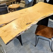 "**ITEM NOW SOLD** Urban Hardwoods 'live edge' maple desk (or dining table). Solid maple, from Seattle area. 78""l x 33.5-47""w x 28.75""h. Current List: $6,200. Modele's Price: 2950.-"
