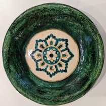 "Vintage ceramic bowl with relief detail and interior crackle glaze. Purchased from Los Angeles boutique. 15.75"" dia. Orig. list: over $500. Modele's Price: 125.-"